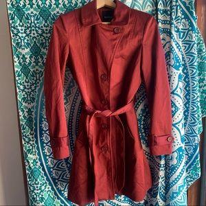 BASQUE size 8 burgundy wine trench coat